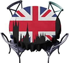 HOMEDECORATIONS Patterned Round Tablecloth Wrinkle Free Tablecloths Union Jack,Houses of The Parliament Silhouette on UK Flag Historic Urban Skyline, Royal Blue Black Red Diameter 50