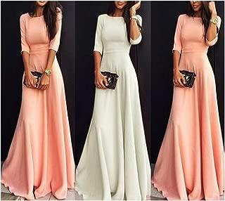 Women A-Line Casual Solid Full Regular Women Dress Natural O-k Dress Plus Size Midi Dress