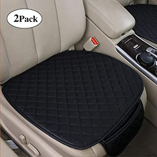 RELANSON 2pc Breathable Car Interior Seat Cover Cushion Pad Mat for Auto Supplies Office Chair with PU Leather Bamboo Charcoal (Black)