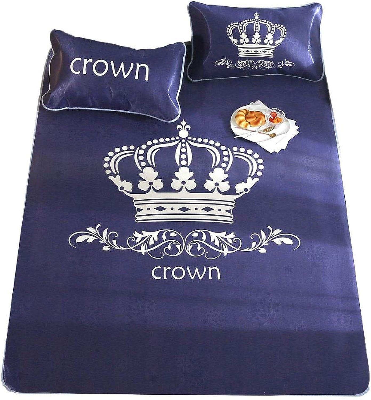 Cooling Summer Sleeping Pad Mattress Topper & Pillow Shams Set, 3 Piece Set Double Bed Foldable Summer Mat Air-Conditioned Mat - Yellow Crown (Size   1.8×2m(6ft))