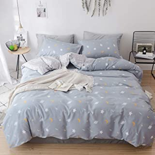 VM VOUGEMARKET Moon Star Duvet Cover Set Twin,100% Cotton Universe Theme Kids Bedding Sets,Reversible Gray Comforter Cover for Children Teens-Twin,Universe