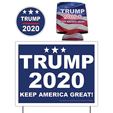 VictoryStore Yard Signs, Donald Trump 2020 Yard Sign Trump 2020 Can Cooler and Trump 2020 Decal | Yard Sign is Printed 2 Sided on 11 Inch by 14 Inch Waterproof Corrugated Plastic and Includes Stakes