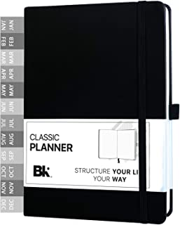 Classic Undated Planner with Monthly Sticker Dividers - 12Month Personal Organizer by BK