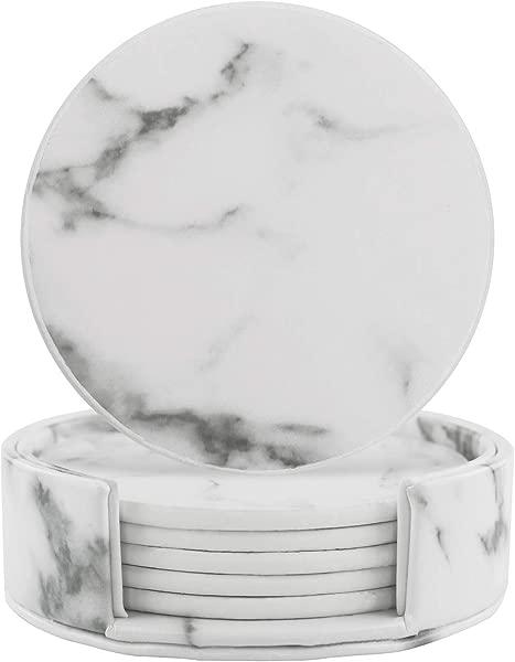 带支架的皮革杯垫一套 6 个大理石杯垫用于饮料有趣乔迁礼物圆形杯垫家用和厨房
