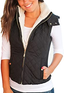 Womens Quilted Lightweight Full-Zip Removable Hooded Vest Outerwear with Side Pockets