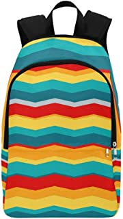 YUMOING Retro Colors 60 Colorful Paper Retro Casual Daypack Travel Bag College School Backpack For Mens And Women