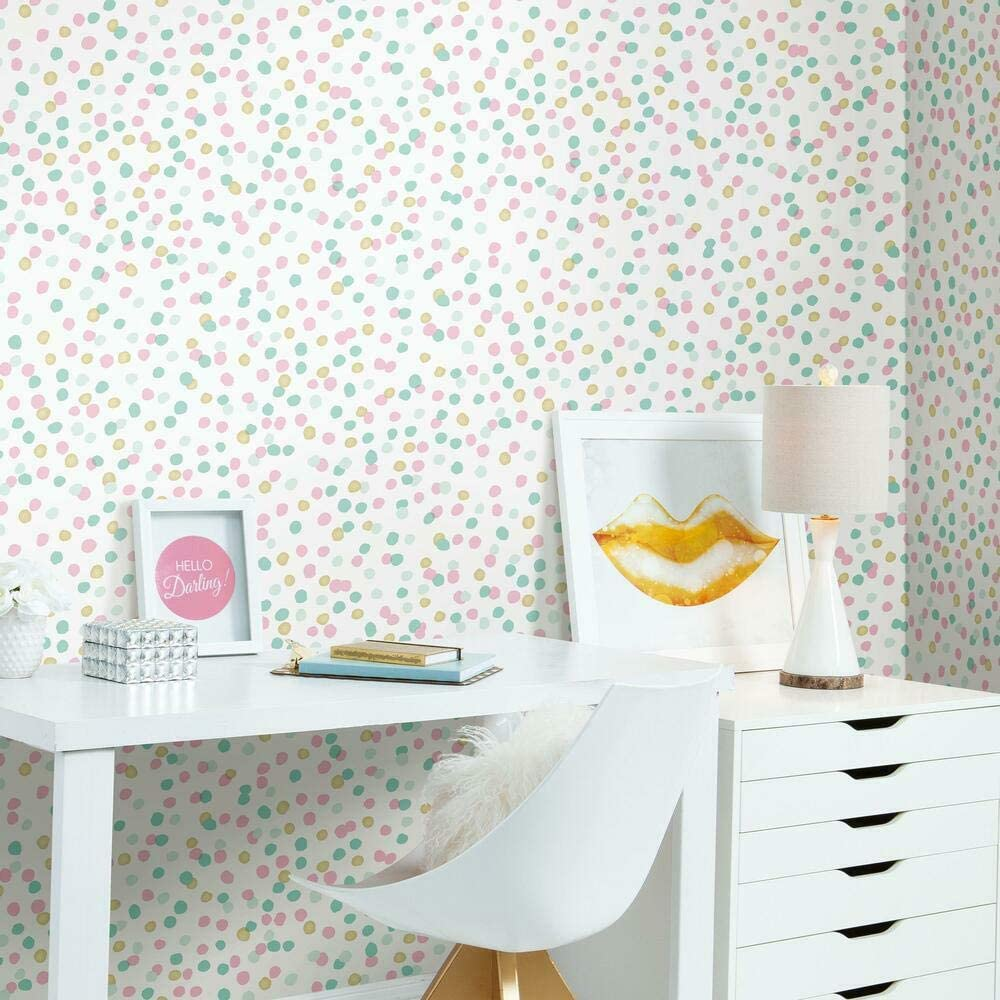 RoomMates RMK3504WP Pink and Blue Glitter Confetti Peel and Stick Wallpaper