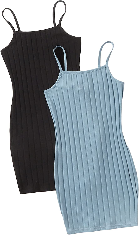 SOLY HUX Girls Sleeveless Spaghetti Strap Rib-Knit Bodycon Slim Fit 2 Piece Dress: Clothing, Shoes & Jewelry