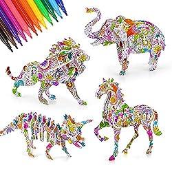 ✨ 【SET PUZZLE 3D】 Nostro puzzle 3D ha 6 kit puzzle con animali e 24 penne colorate, giochi puzzle è un fantastico giocattolo bambini 8 9 10 11 12 anni. Giocattoli puzzle combinazione colorazione e assemblaggio, bambini possono creare proprie opere ar...
