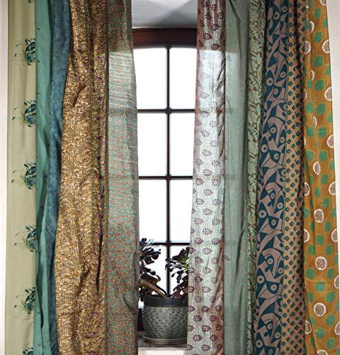 Guru-Shop 1 Paar Vorhänge (2 Stk.) Gardine aus Patchwork Sareestoff, Unikat - Grün/braun, Synthetisch, 240x100 cm, Dekovorhänge