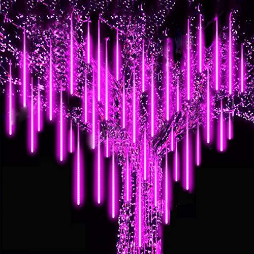 Roytong Meteorschauer Regen Lichter Lichterregen Lichterkette 30cm 8 Tubes IP65 Wasserdichte für Party Garten Hochzeit Weihnachten Xmas Außen Innen Dekoration (Lila, 30)