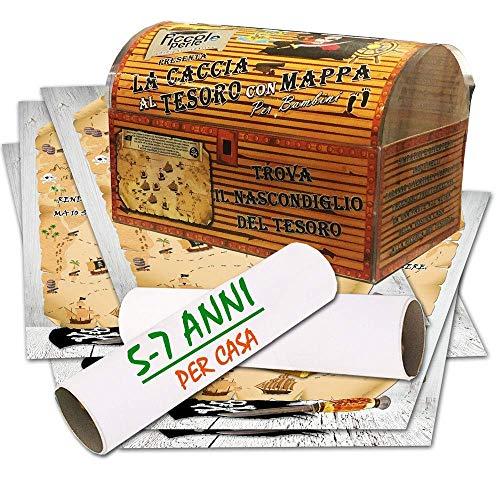 Caccia al tesoro con mappa in scatola per casa 5-7 anni - per feste di compleanno - giochi per...