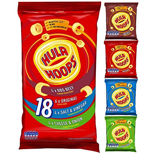 Hula Hoops Multipack Crunchy Potato Rings, Flavoured Potato Snack Bundle, 18 x 24g Bags – Variety