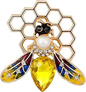 Ensemble de 2 broche /à th/ème abeille en cristal /émaill/é /à la mode en cristal pour collier de v/êtements robe /écharpe de d/écoration