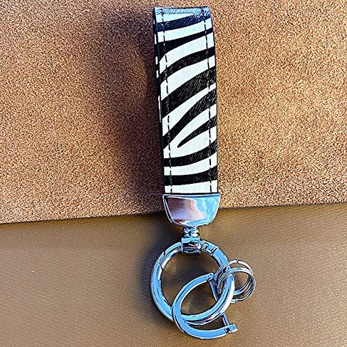 BING FENG Cuero Genuino Llavero Lanyard Hombres Mujeres Cebra del Leopardo patrón de la Serpiente sostenedor del Anillo de la Llave del Coche Regalo de la joyería (Color : Silver Buckle)
