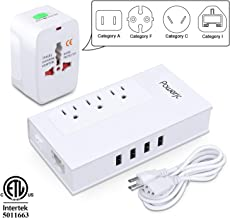 Voltage Converter UK/AU/US/EU Worldwide Plug Adapter with 3 Outlets and 4 Smart USB Charging Ports Powerjc(White)