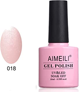 AIMEILI Soak Off UV LED Gel Nail Polish - Sparkle Grapefruit (018) 10ml