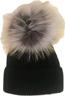 New Black Hat with Dove/Grey Pom Pom - Genuine Fur…HA62