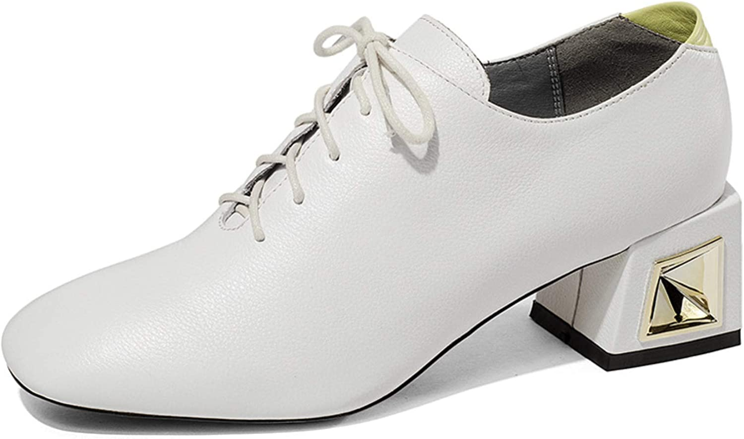 Shiney Wwomen's High-Heels New Leather Single shoes Chunky Heel Front Lace Up Spring and Summer
