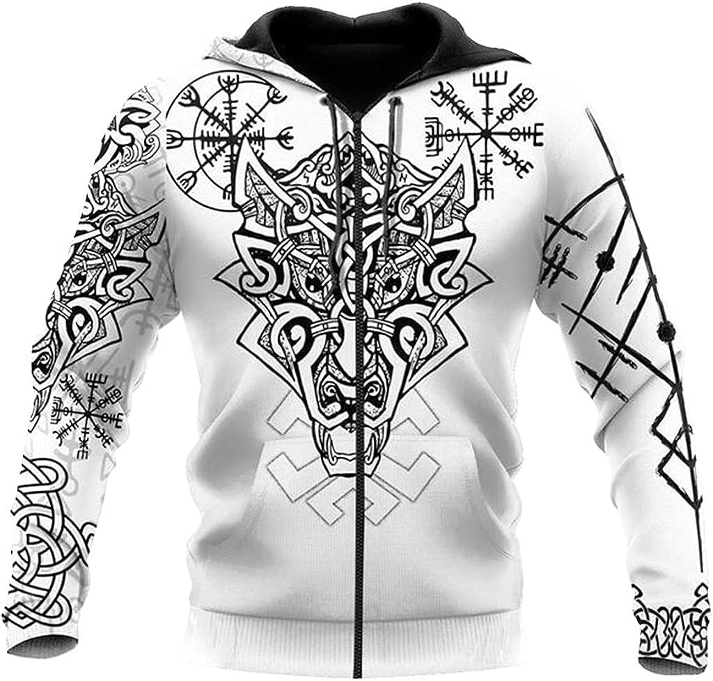 Vikings Men Pullover Nordic Symbol Tattoo 3D Printed Loose with Big Pockets Hoodie Fall Harajuku Zip Hooded Sweatshirt