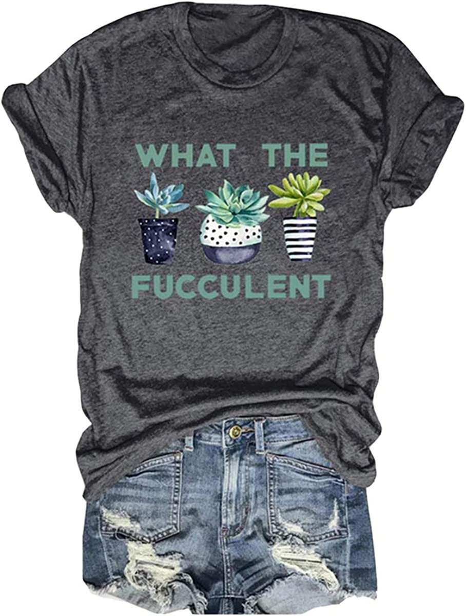 DORFALNE Women's Funny Succulent Garden T-Shirt Short Sleeve Casual Fashion Printed Graphic Tees Tops