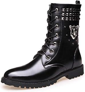 Bottes Hautes pour Hommes Bottes en Coton Décontracté Rivet Biker Knight Bottines Punk Rock Automne Et Hiver Martin Bottes...