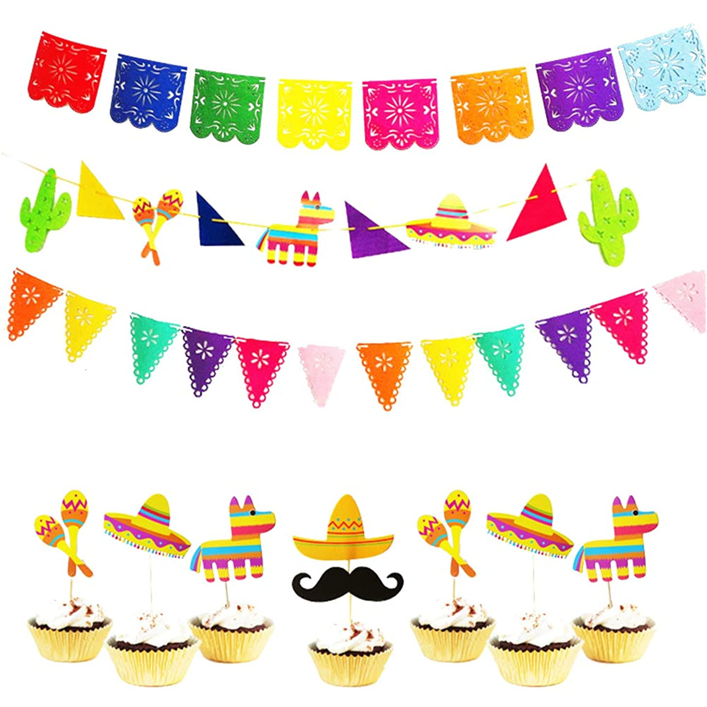 Amosfun Mexican Papel Picado Party Decorations Supplies Set 3pcs Banners 8pcs Mexican Custom Pattern Cake Toppers for Hawaii Wedding Birthday Party