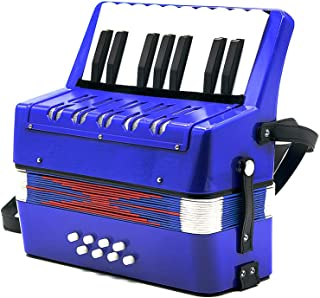 AKDSteel 17-Key 8 Bass Mini Small Accordion Educational Musical Instrument Rhythm Band Toy for Kids Children Blue for Accessories
