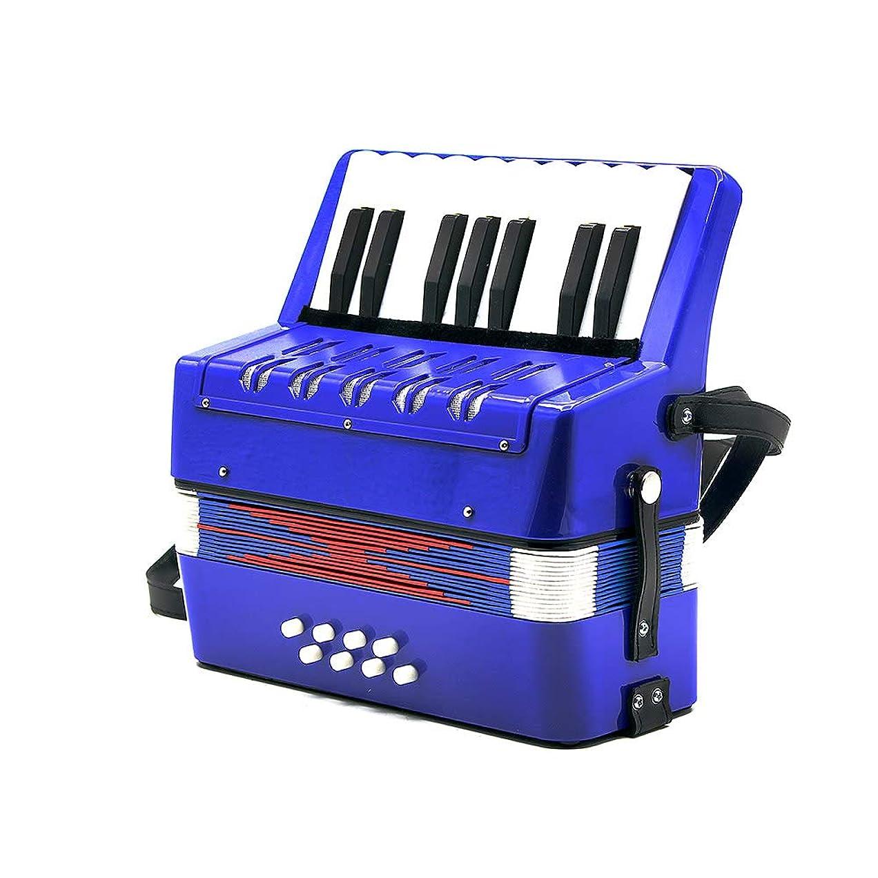 メーカー小道具ファイナンスRaiFu アコーディオン 17鍵 8ベース 子供用 ミニ 教育 楽器 おもちゃ 玩具 リズムバンド 初心者 大人 全3色選択可能 ブルー