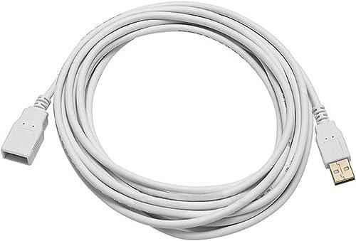 Monoprice Cabo de extensão 28/24AWG USB 2.0 A macho para fêmea de 4,5 m (banhado a ouro), branco (108608)