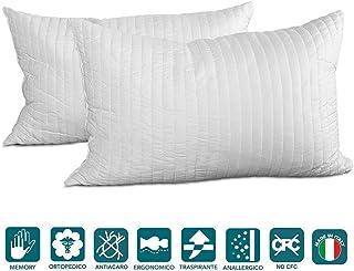 Evergreenweb - Pack de 2 almohadas 40X70 viscoelásticas de copos altos 15 cm. Perfecta adaptabilidad al cuello transpirable, antialérgico, para dolores cervicales, para a todos los colchones y camas