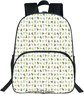 Oobon Kids Toddler School Waterproof 3D Cartoon Backpack, Little Triangular Xmas Pine Trees in Shades of Green Stylized Retro Holiday Elements Decorative, Fits 14 Inch Laptop