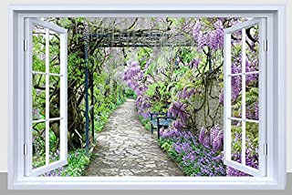 BANBERRY DESIGNS Pathway Picture - Purple Garden Pathway with Fiber Optic Lights - LED Canvas Garden Print with Window Frame
