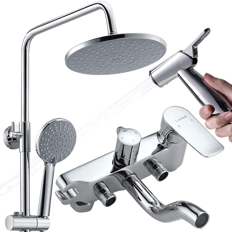Duschset mit Duschpistole, rund, 22,9 cm, Kupferhebel-Wasserhahn, Hauptdusche (Vier-Gang-Düse) 2