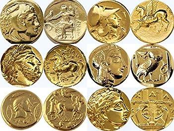 Golden Artifacts Alexander Athena Zeus Apollo 6 Famous Greek Coins UniqueGift Greek Mythology  6SET-G
