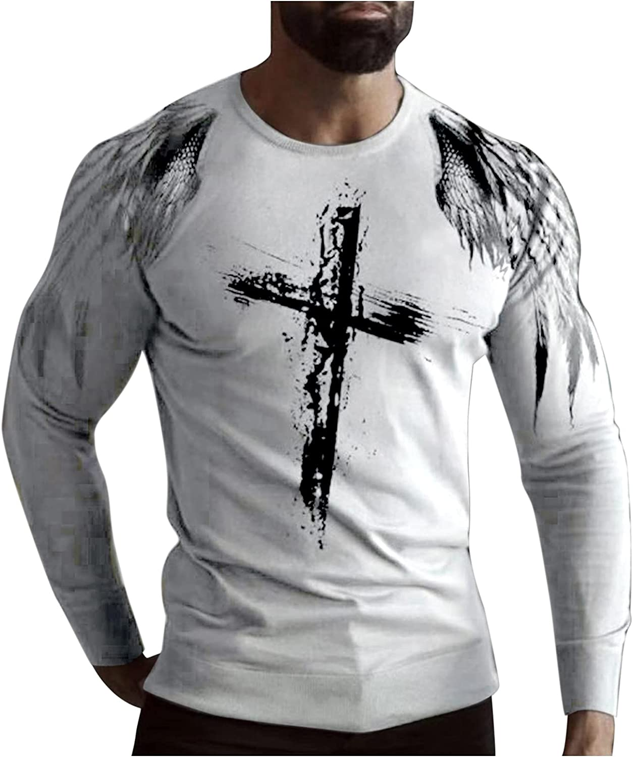 XXBR Soldier Long Sleeve T-shirts for Mens, Fall Street Faith Jesus Cross Print Workout Athletics Crewneck Tee Tops