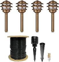 VOLT 3-Tier Pagoda Path Light Kit, Brass (4-Pack)