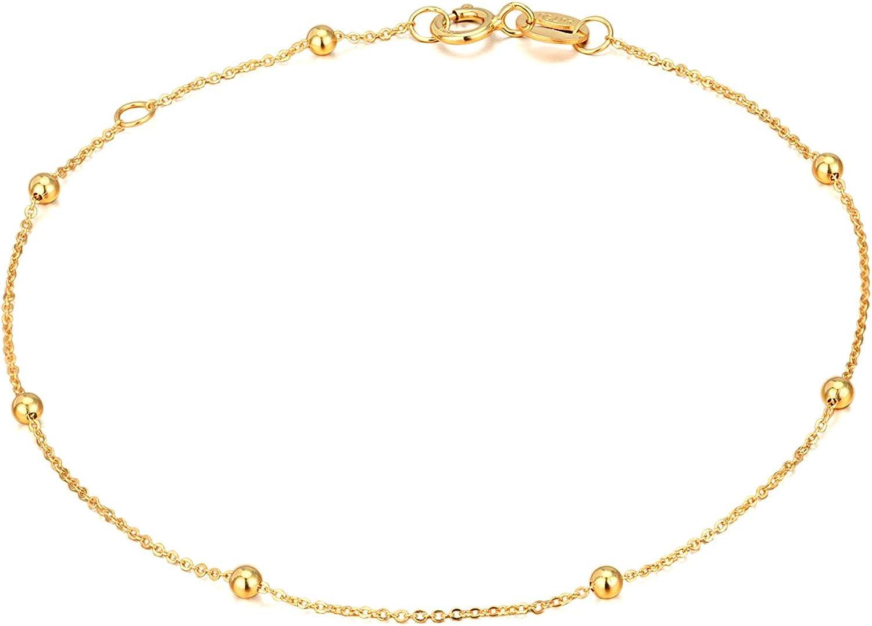 Solid 14K, 18K Gold Bracelets for Women, Real Gold Bead Thin Chain Bracelet