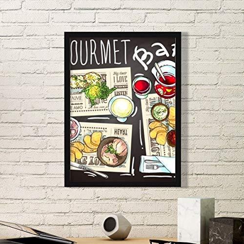 DIYthinker Gourmet Bar Steak Soep Limonade Eenvoudige Foto Frame Kunst Prints Schilderijen Thuis Muursticker Gift