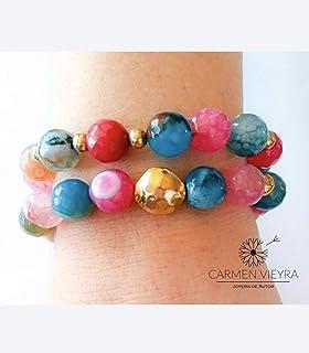 Carmen Vieyra Joyería-Pulsera ágatas multicolor