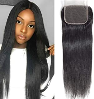 Brazilian Straight lace Closure Hair 4x4 Free Part Lace Closure 18 Inch Unprocessed Virgin Human Hair Natural Color