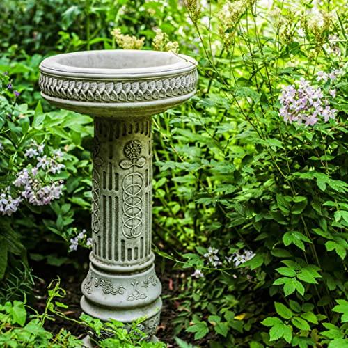 Stone Cast Garden Bird Bath with Stunning Sunflower Design