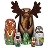 """Bits and Pieces - """"Woody and Friends American Woodland Creatures Nesting Dolls - Hand Painted Wooden Nesting Dolls Matryoshka Animal Figurines - Set of 5 Dolls from 5.5"""" Tall"""