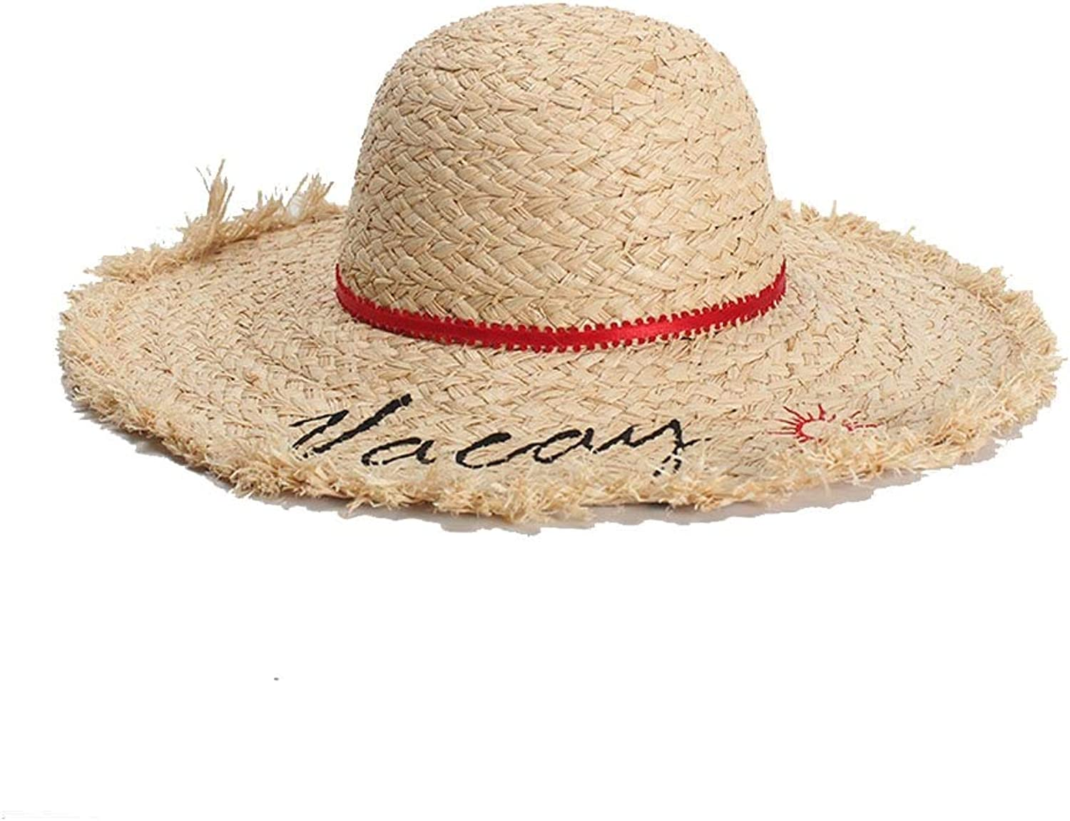 Fashion Sun Hat Lafite Lady Hat Summer Vacation Embroidery Dome Edging Big Visor Sunscreen Beach Hat Comfortable (color   Light Khaki, Size   5658CM)