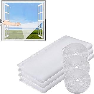 Set van 3 vliegengaas, muggennet voor Windows, doe-het-zelf vliegengaas, bugs Bee Protector (1,3 m x 1,5 m) met 3 rollen h...