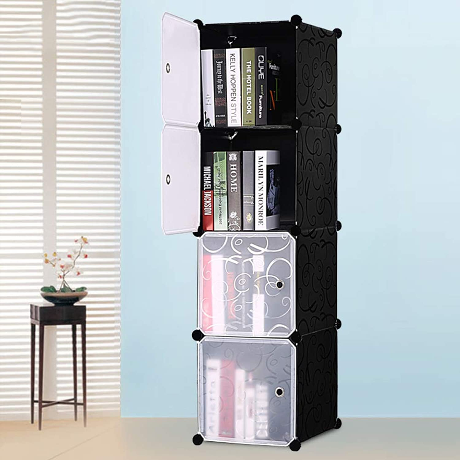Easy Assembly Bookcase,Creative Bookshelf Space Saving Multipurpose Storage Organizer Shelves 8 Cabinet-A2 37  75  75cm(15  30  30in)
