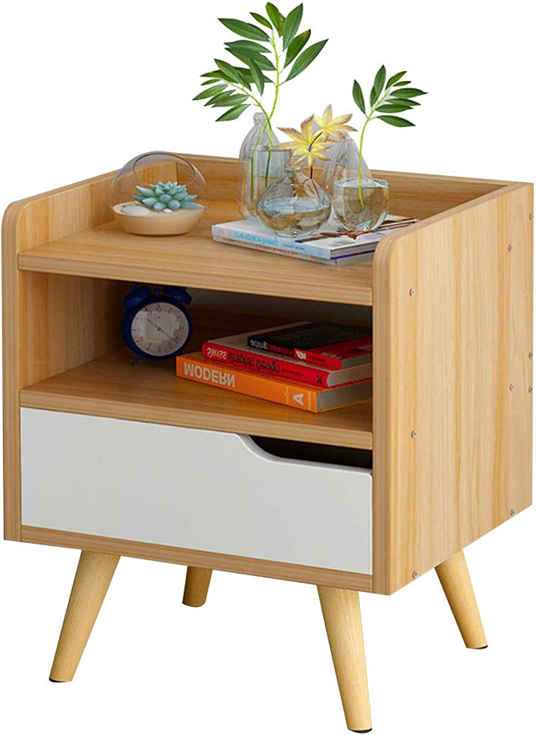Coffee Table Bedside Cabinet, Solid Wood Cabinet Legs with 1 Drawer Dig Handle Design Diversified Storage Household Living Room Sofa Side 2 Colours (color   Wood color)
