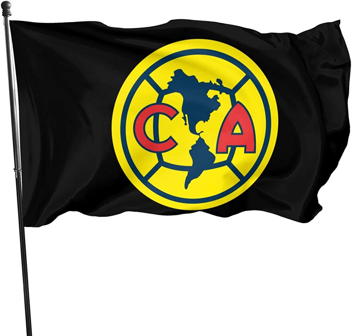PT&CM Club America Flag,Bright Color Fade-Resistant Polyester Brass Buttonhole for Interior and Exterior Decoration 3X5