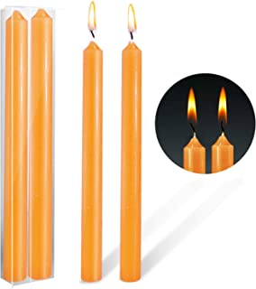 XYUT Entertaining with Caspari 10-Inch Taper Dripless, Smokeless, Unscented Candles, Orange, Set of 2