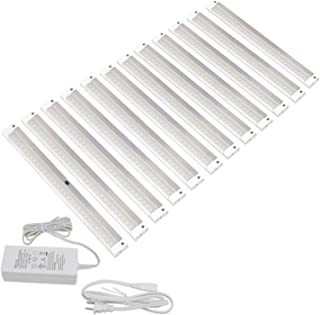 EShine White Finish 12 Panels 12 inch LED Dimmable Under Cabinet Lighting Kit, Hand Wave Activated - Touchless Dimming Control - Deluxe Kit, Warm White (3000K)